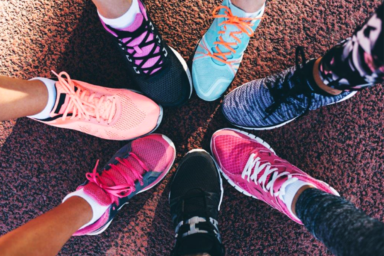 Running shoes in bright colours