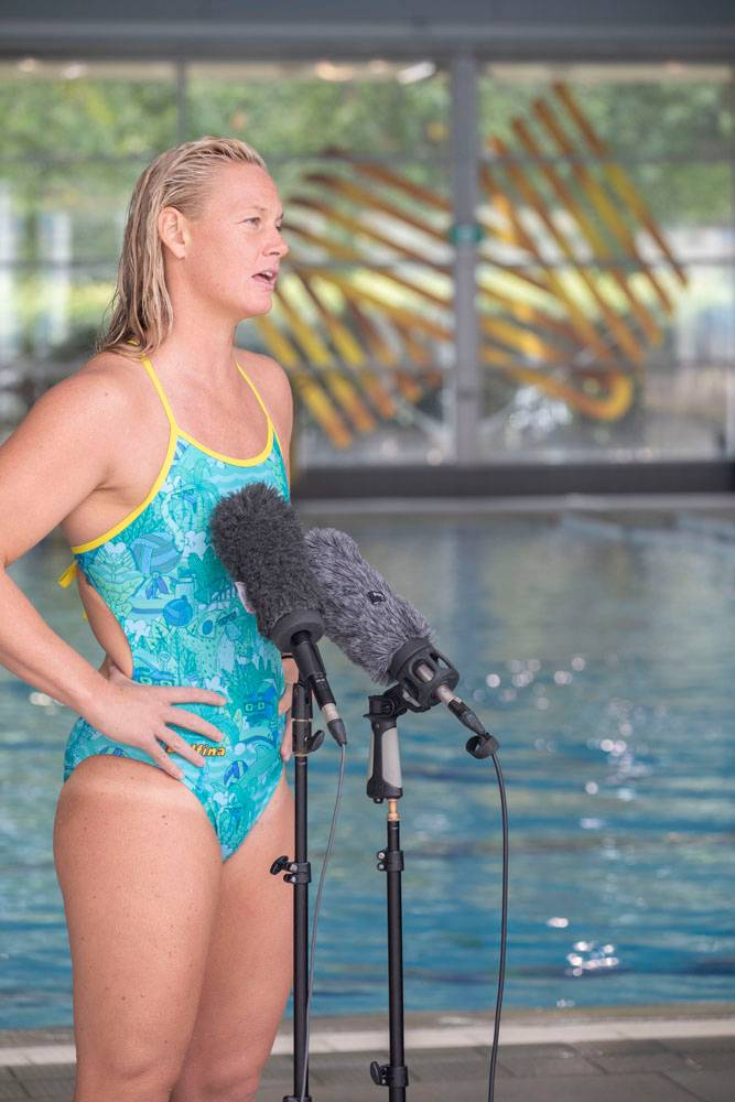 Aussie Stingers Water Polo team captain Rowena Webster speaks to media at the AIS.