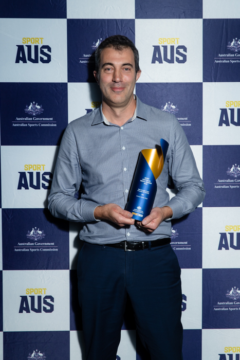 Nick Morris from the ABC with the trophy for Best Coverage of Sport for People with Disability