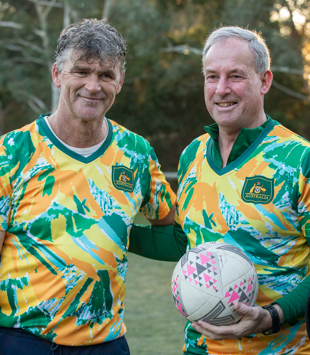 Former Socceroos captain Alex Tobin and Minister for Youth and Sport Richard Colbeck.