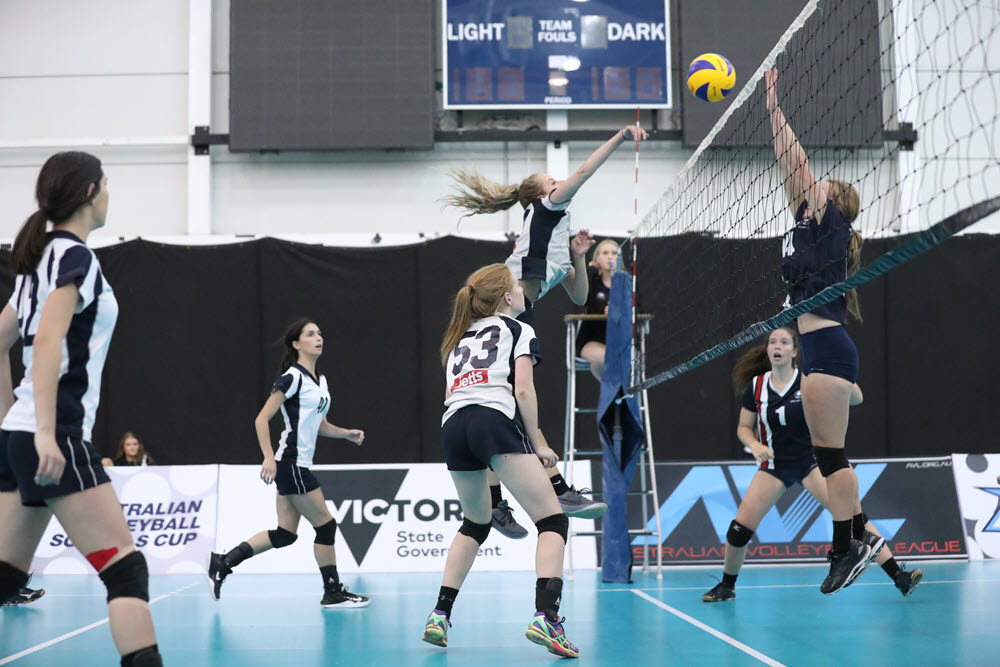 Secondary School Girls Playing Volleyball
