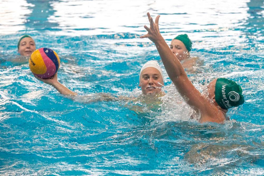 The Aussie Stingers Water Polo team trains at the AIS