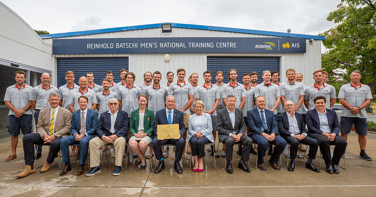 Minister for Sport, Senator the Hon. Richard Colbeck, centre, with athletes and other guests at Rowing Australia's Reinhold Batschi Men's National Training Centre