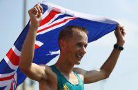 Tallent with Australian flag